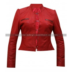 Diva Aksana WWE Red Leather Jacket