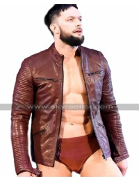WWE RAW Wrestler Finn Balor Quilted Biker Maroon Leather Jacket