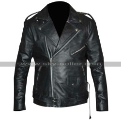 Triple H Black Leather Jacket | Triple H Patch Denim Vest