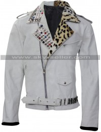 WWE Brian Kendrick Studded White Leather Jacket