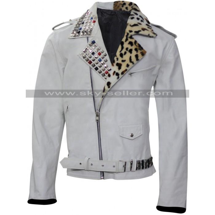 WWE Brian Kendrick Studded White Leather Jacket