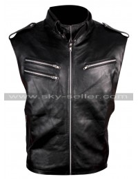WWE Wrestler Dave Bautista Black Leather Vest