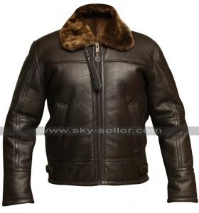 Mens RAF Aviator B3 Pilot Flight Dark Brown Fur Shearling Bomber Leather Jacket