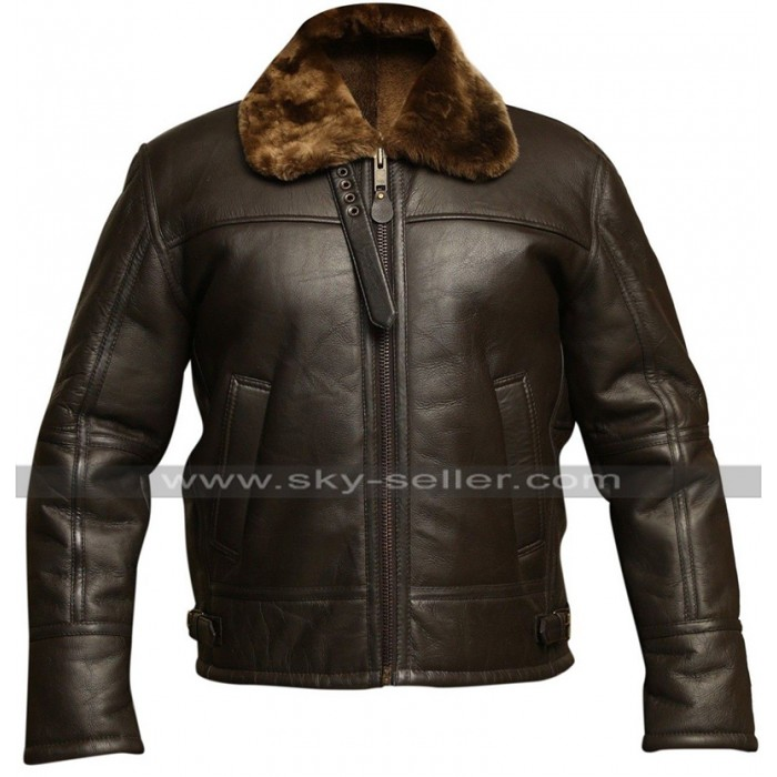 Mens RAF Aviator B3 Pilot Flight Dark Brown Fur Shearling Bomber Leather Jacket