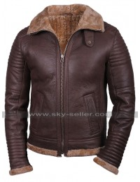 Mens RAF B3 Aviator Pilot Bomber Flight Fur Shearling Brown Leather Jacket