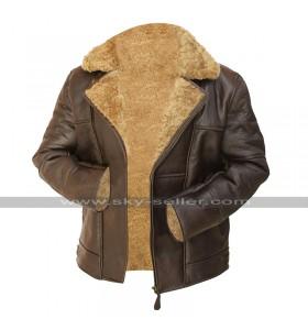 Mens RAF B3 Aviator Flying Pilot Bomber Brown Fur Shearling Sheepskin Leather Jacket