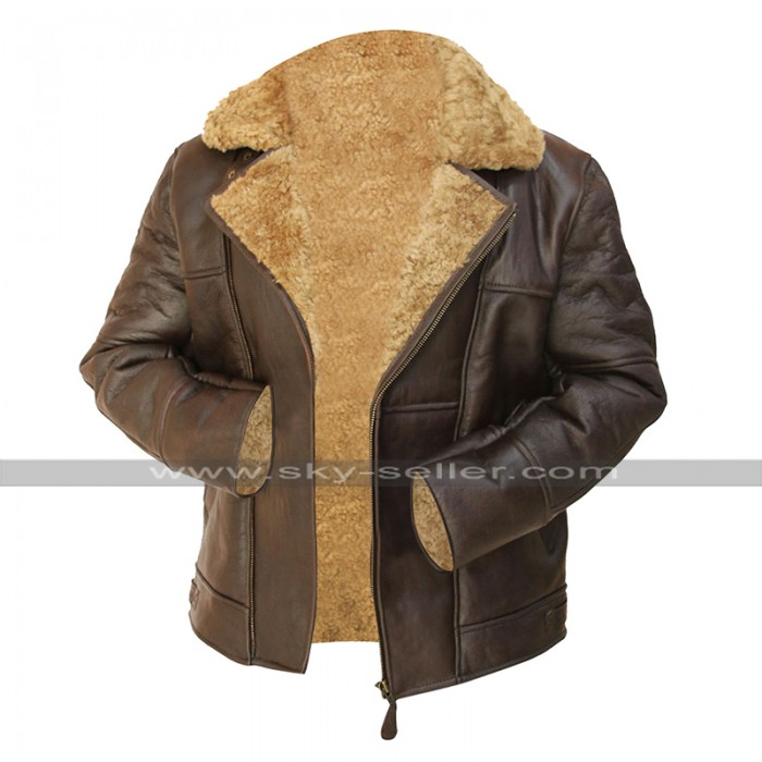 Mens RAF B3 Aviator Flying Pilot Bomber Brown Fur Shearling Sheepskin Leather Jacket