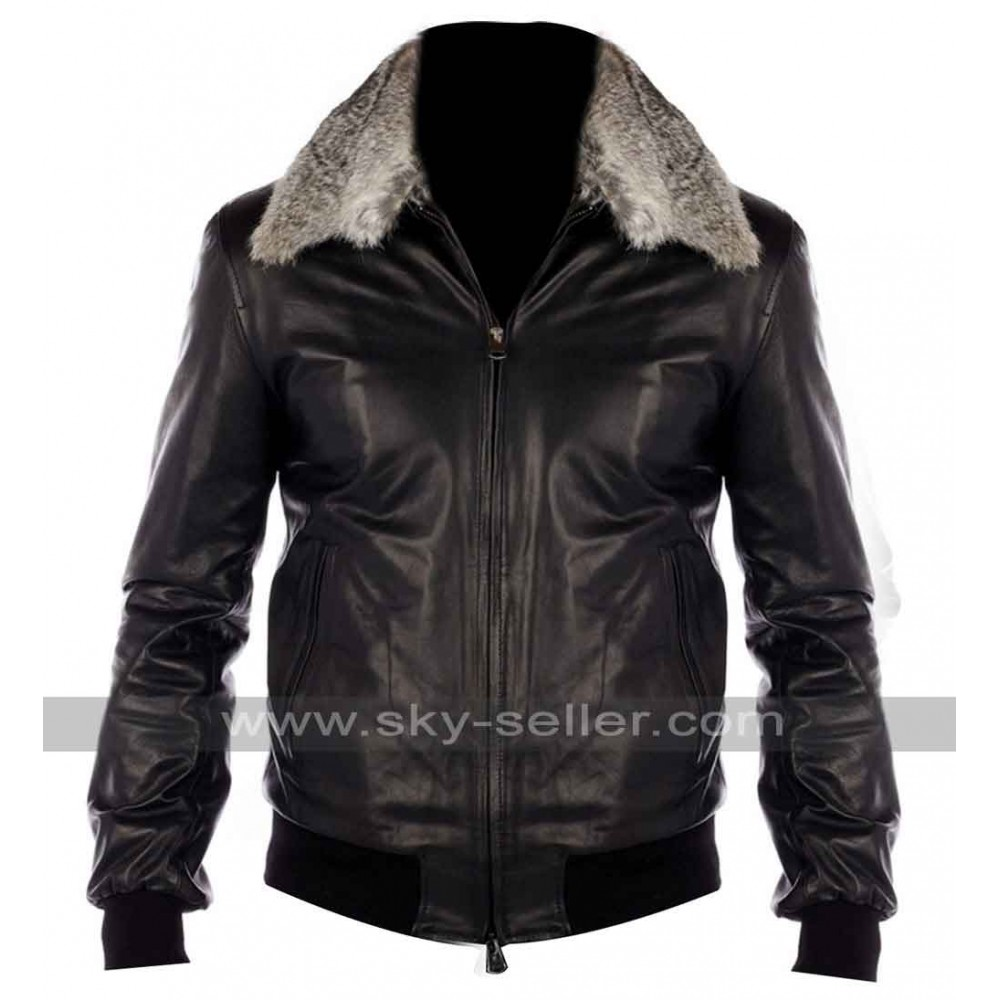 Black Nappa Leather Real Fur Collar Bomber Jacket