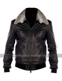 Black Nappa Leather Real Fur Collar Bomber Jacket