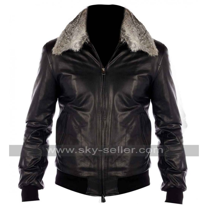 Black Nappa Leather Real Fur Collar Bomber Jacket - Nappa Leather Real Fur Collar Bomber Jacket