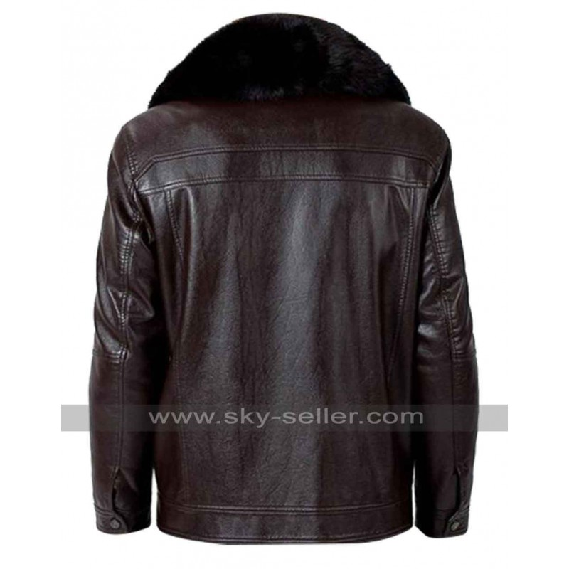 Real fur collar brown faux leather jacket for What is faux leather to real leather