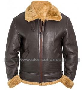 Mens RAF Aviator Pilot B3 Flight World War II Bomber Brown Leather Jacket