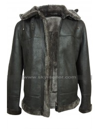 Mens B3 Aviator Pilot Flight Black Fur Shearling Bomber Hoodie Leather Jacket