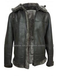 Mens B3 Aviator Pilot Flight Black Fur Shearling Bomber Hoodie Leather Jacket