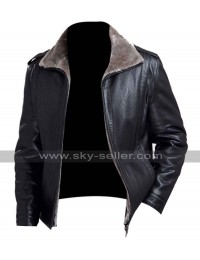 Men's Black Leather Winter Fur Collar Jacket