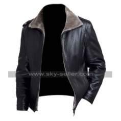 Men's Black Leather Winter Fur Collar Jacket