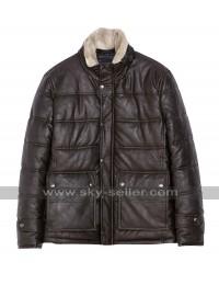 Mens Winter Fur Collar Brown Leather Jacket