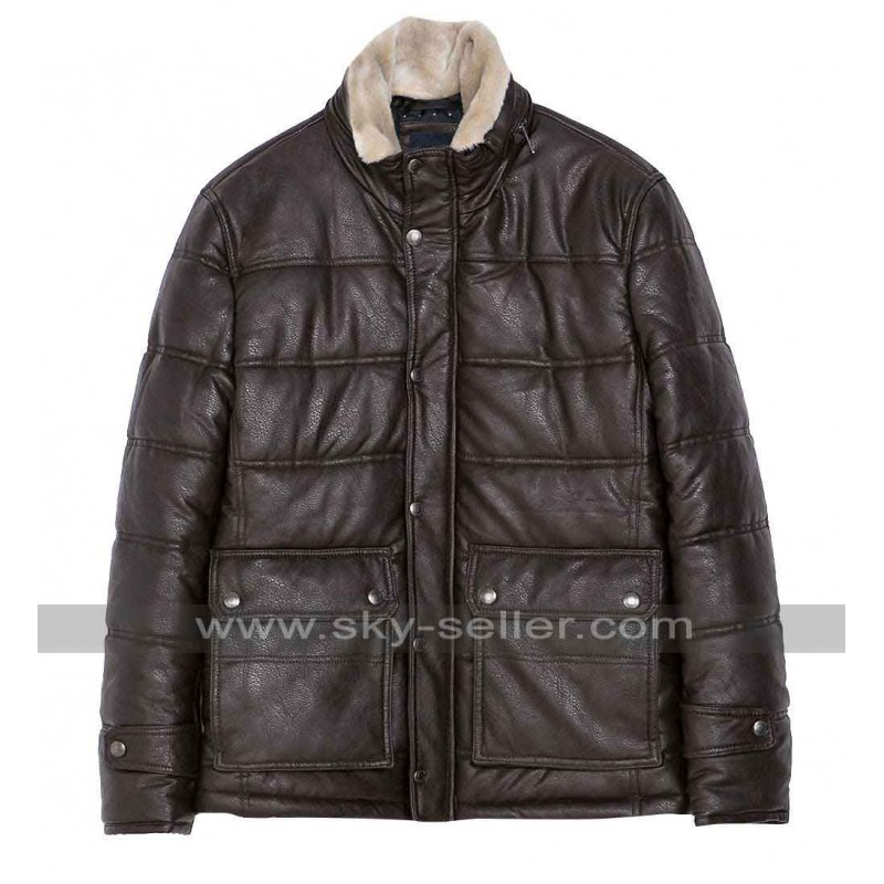 Winter Fur Collar Brown Leather Jacket