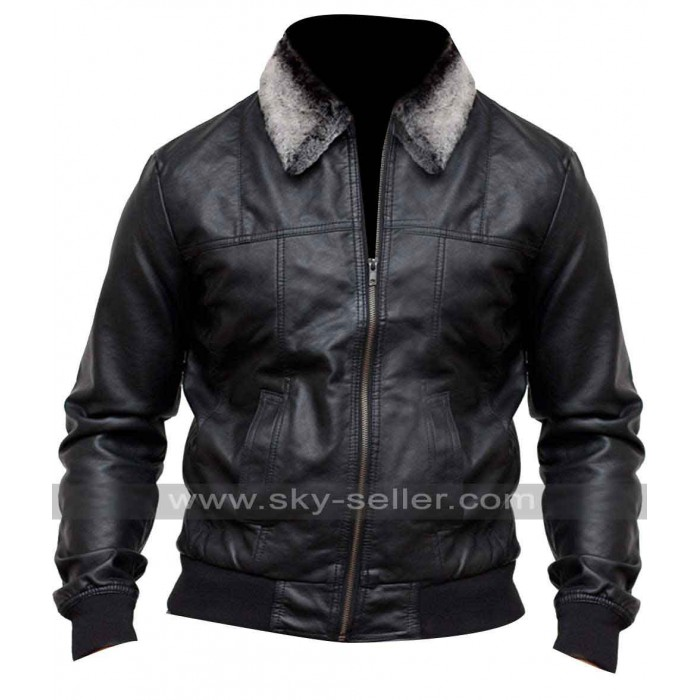 Pointed Fur Collar Mens Black Bomber Jacket