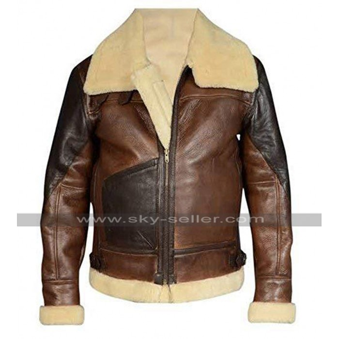 Mens B3 Aviator RAF Pilot Flight Bomber Fur Shearling Brown Leather Jacket