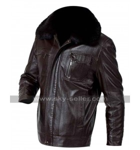 Real Fur Collar Brown Faux Leather Jacket