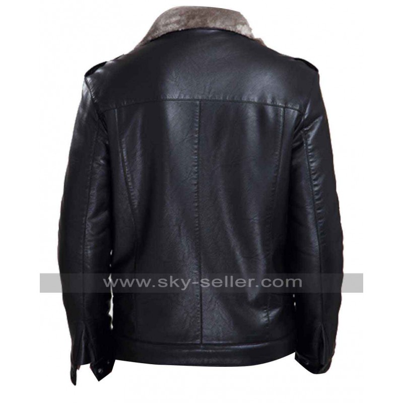 Black Leather Winter Fur Collar Jacket