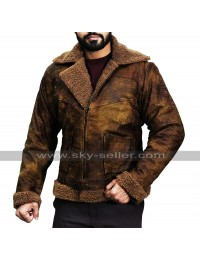 Men's Dover Shearling Distressed Brown Bomber Jacket
