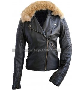 Womens Fur Collar Quilted Vintage Biker Brando Motorcycle Genuine Leather Jacket