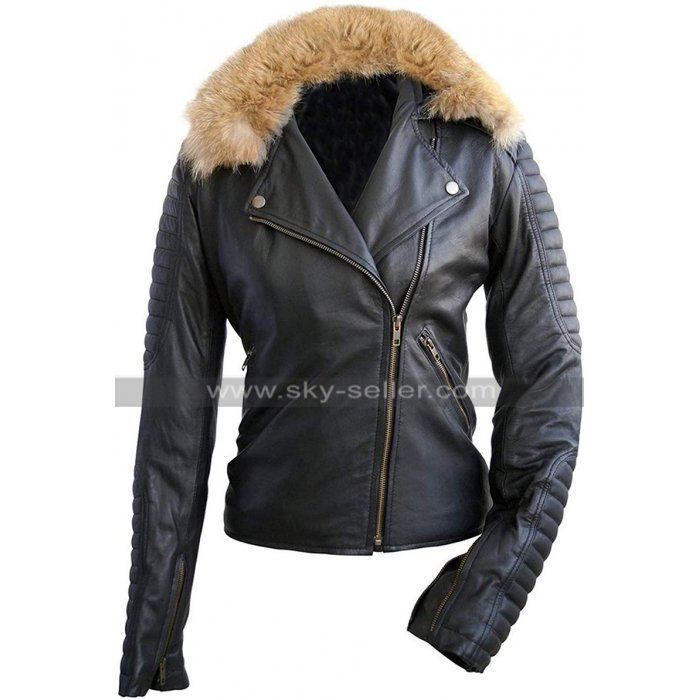 Womens Fur Collar Quilted Vintage Biker Brando Motorcycle Genuine Leather Jacket