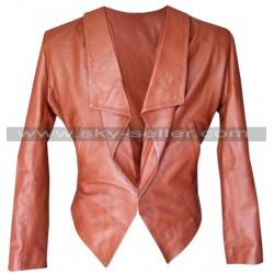 2 Broke Girls Caroline Channing Brown Leather Jacket