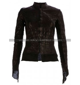 Affamee Alligator Women Black Leather Jacket