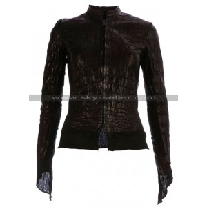 Affamee Alligator Women Black Leather Jacket