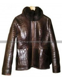 Alligator Fur Brown Leather Jacket