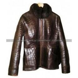 Alligator Fur Brown Leather Jacket