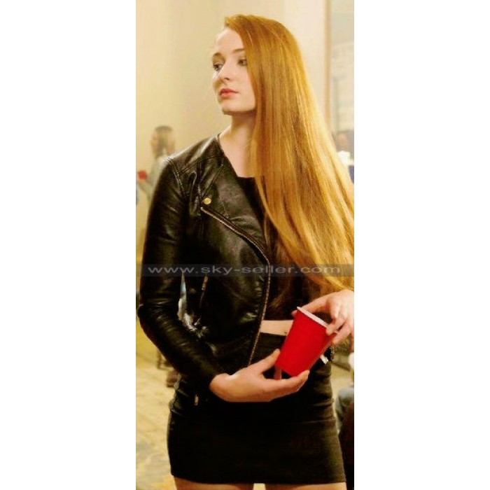 Barely Lethal Sophie Turner (Heather) Black Biker Jacket
