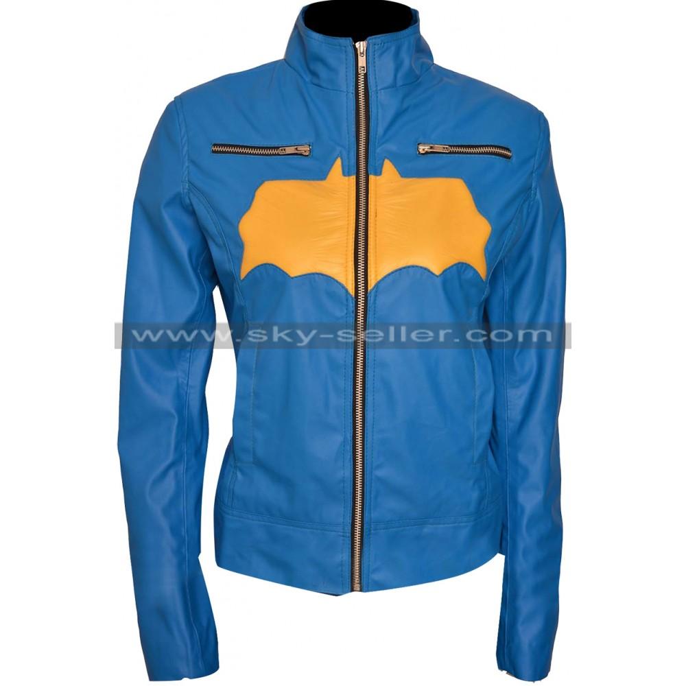 Batgirl Blue & Yellow Costume Leather Jacket