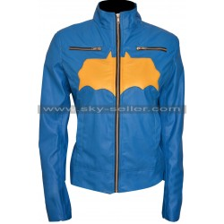Batgirl Blue & Yellow Costume Leather Jacket