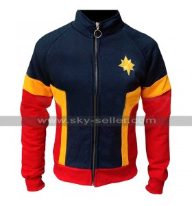 Carol Danvers Captain Marvel Costume Jacket Brie Larson Fleece Tracksuit