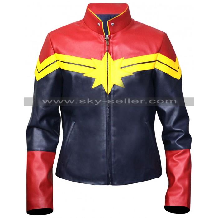 Captain Marvel Carol Denvers Costume Leather Jacket