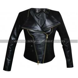 Chrissy Teigen Sporty Black Leather Jacket