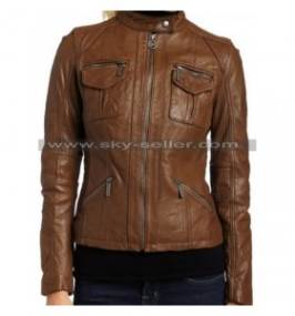 Women's Dark Brown Zipper Slim Fit Leather Jacket