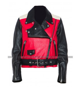 Demi Lovato Acne Studios Red Biker Leather Jacket