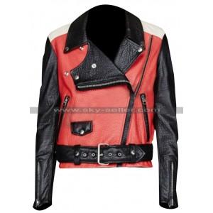 Demi Lovato Acne Studios Red Biker Leather Jacket