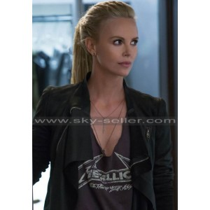 Charlize Theron Fast & Furious 8 Black Leather Jacket
