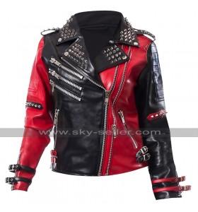 Harley Quinn Heartless Asylum Studded Red and Black Biker Leather Jacket