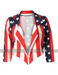 Independence Day American Flag Women Leather Jacket