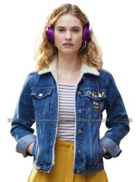 Baby Driver Lily James Fur Denim Jacket