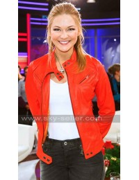 Linda Hesse Red Motorcycle Leather Jacket