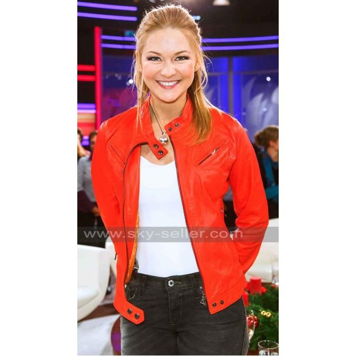 Linda Hesse Red Motorcycle Leather Jacket