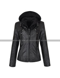 Women Biker Slim Fit Detachable Zipper Hoodie Leather Jacket